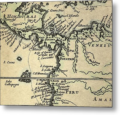 1698 W. Dampier Pirate Naturalist Map Metal Print by Paul D Stewart