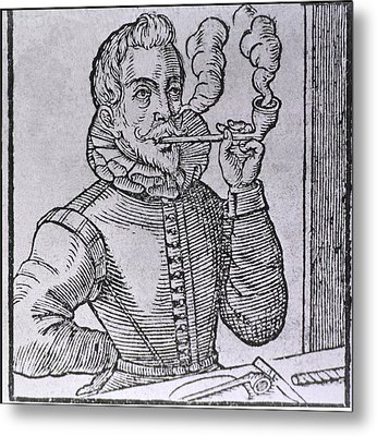 16th Century Dutchman Smoking Metal Print by Everett