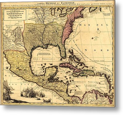 1710 Dutch Map Of North America Metal Print by Everett