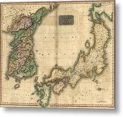 1815 Map Of Japan And Korea, Showing Metal Print by Everett