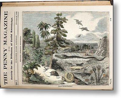 1833 Penny Magazine Extinct Animals Color Metal Print by Paul D Stewart