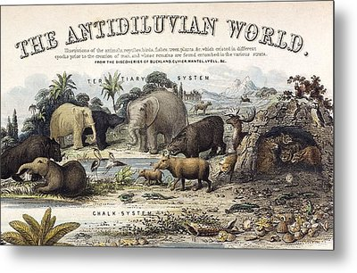 1849 The Antidiluvian World Crop Jurassic Metal Print by Paul D Stewart