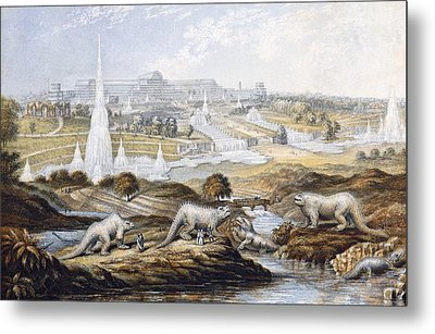 1854 Crystal Palace Dinosaurs By Baxter 1 Metal Print by Paul D Stewart