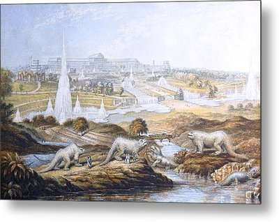 1854 Crystal Palace Dinosaurs By Baxter 2 Metal Print by Paul D Stewart