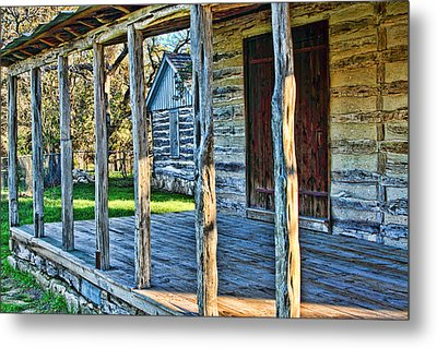 1860 Log Cabin Porch Metal Print by Linda Phelps