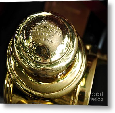 1907 Stanley Steamer - Top View Brass Tail Light Metal Print by Kaye Menner