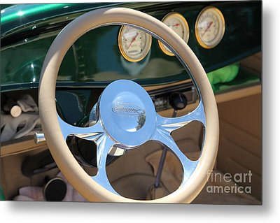 1932 Ford Roadster Steering Wheel And Guages . 5d16176 Metal Print by Wingsdomain Art and Photography