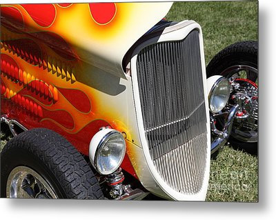 1933 Ford Roadster With Flames . 5d16237 Metal Print by Wingsdomain Art and Photography