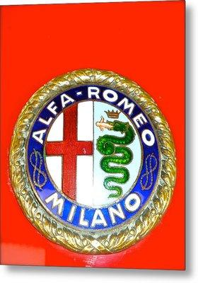 Metal Print featuring the photograph 1938 Alfa Romeo 308c Hood Badge by John Colley