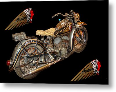1940 Indian Scout Police Unit Version 3 Metal Print by Ken Smith