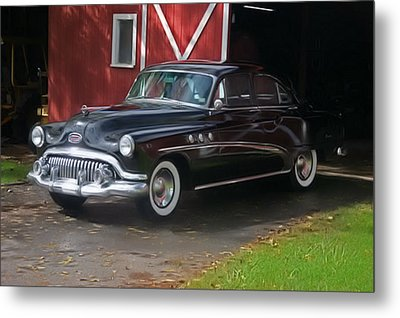 Metal Print featuring the photograph 1952 Buick And Old Barn by Elizabeth Coats