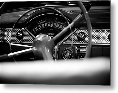 1955 Chevy Bel Air Dashboard In Black And White Metal Print