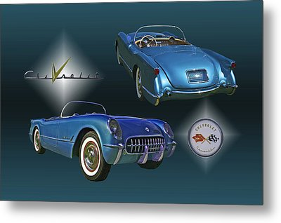 1955 Corvette - 68 Of 700 Built Metal Print by Mike  Capone