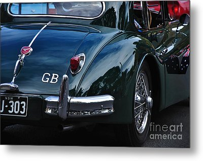 1956 Jaguar Xk 140 - Rear And Emblem Metal Print by Kaye Menner