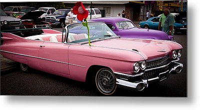1959 Cadillac Convertible And The 1950 Mercury Metal Print by David Patterson