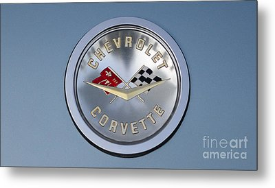 1959 Corvette Emblem Metal Print by Paul Ward