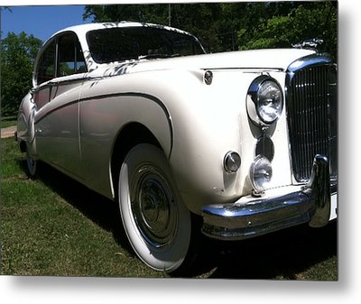 Metal Print featuring the photograph 1959 White Jaguar by Elizabeth Coats