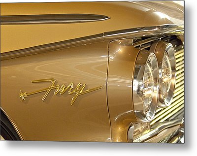 1960 Plymouth Fury Convertible Headlight Emblem Metal Print