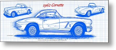 Metal Print featuring the drawing 1962 Corvette Blueprint by K Scott Teeters