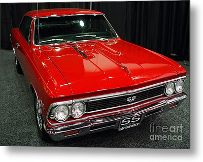1966 Chevy Chevelle Ss 396 . Red . 7d9280 Metal Print by Wingsdomain Art and Photography