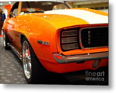 1969 Chevrolet Camaro 350 Rs . Orange With Racing Stripes . 7d9432 Metal Print by Wingsdomain Art and Photography