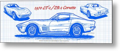 Metal Print featuring the drawing 1970 Lt-1 And Zr-1 Corvette Blueprint by K Scott Teeters