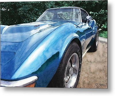 Metal Print featuring the painting 1972 Blue Corvette Stingray by Rod Seel
