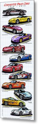 Metal Print featuring the drawing 1978 - 2008 Indy 500 Corvette Pace Cars by K Scott Teeters
