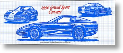 Metal Print featuring the drawing 1996 Grand Sport Corvette Blueprint by K Scott Teeters