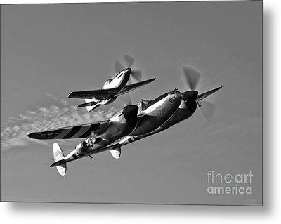 A P-38 Lightning And P-51d Mustang Metal Print by Scott Germain