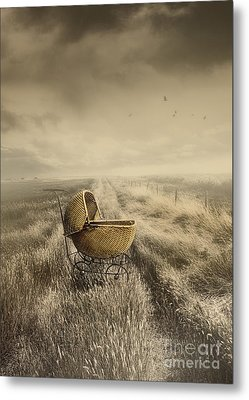 Abandoned Antique Baby Carriage In Field Metal Print by Sandra Cunningham