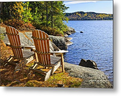 Adirondack Chairs At Lake Shore Metal Print by Elena Elisseeva