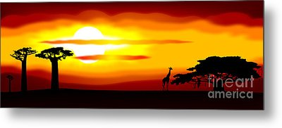 Africa Sunset Metal Print by Michal Boubin