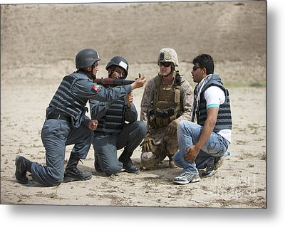 An Afghan Police Student Loads A Rpg-7 Metal Print by Terry Moore
