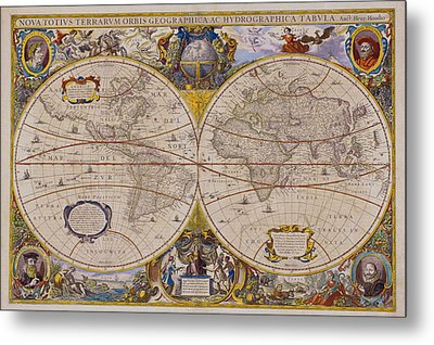 Antique Map Of The World Metal Print by Comstock