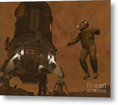 Artists Concept Of Astronauts Exploring Metal Print by Walter Myers