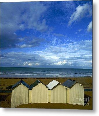 Beach Huts Under A Stormy Sky In Normandy Metal Print by Bernard Jaubert