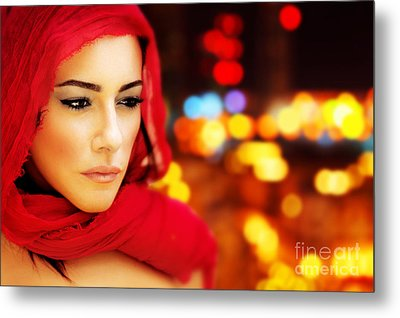 Beautiful Arabic Woman Metal Print by Anna Om