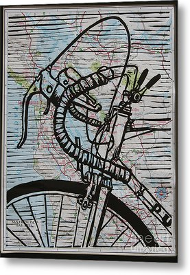 Metal Print featuring the drawing Bike 2 On Map by William Cauthern