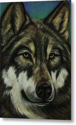 Blue Wolf Metal Print by Lucy Deane