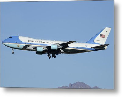 Boeing Vc-25a 82-8000 Air Force One Phoenix-mesa Gateway Airport January 25 2012 Metal Print by Brian Lockett