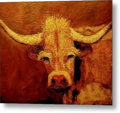 Metal Print featuring the painting Bull by Marie Hamby