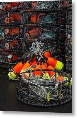 Buoys And Crabpots On The Oregon Coast Metal Print by Carol Leigh