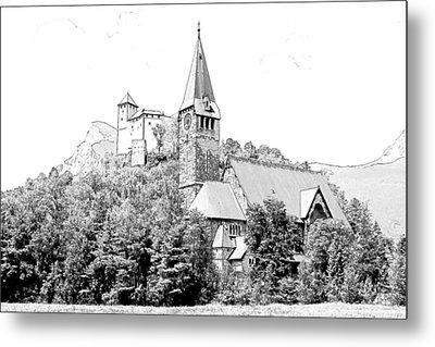 Burg Gutenberg And Church Balzers Liechtenstein  Metal Print by Joseph Hendrix