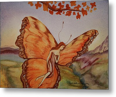 Metal Print featuring the painting Butterfly by Teresa Beyer