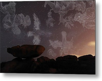 Constellations In A Night Sky Metal Print by Laurent Laveder