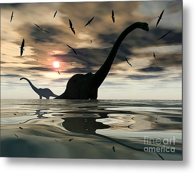 Diplodocus Dinosaurs Bathe In A Large Metal Print by Mark Stevenson