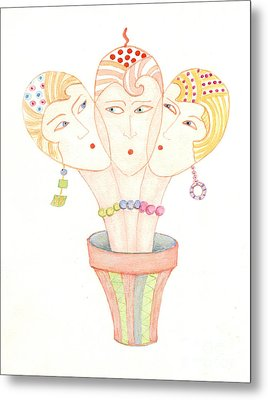 Metal Print featuring the painting Flower Pot Ladies by Nareeta Martin