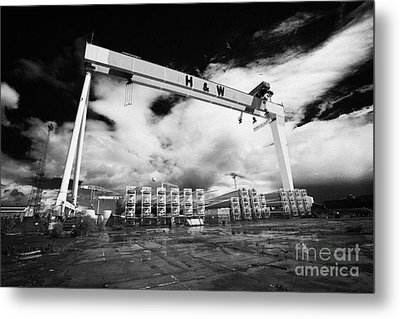 Giant Harland And Wolff Crane Goliath At Shipyard Titanic Quarter Queens Island Belfast Metal Print by Joe Fox