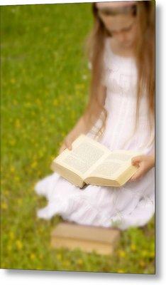 Girl Is Reading A Book Metal Print by Joana Kruse